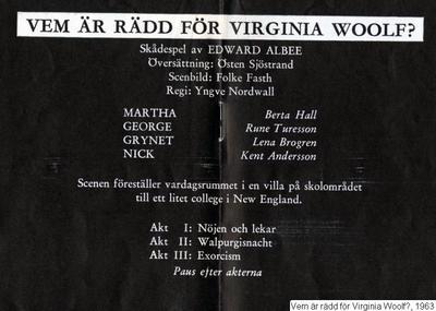 Vem är rädd för Virginia Woolf?, 1963, Vem är rädd för Virginia Woolf?