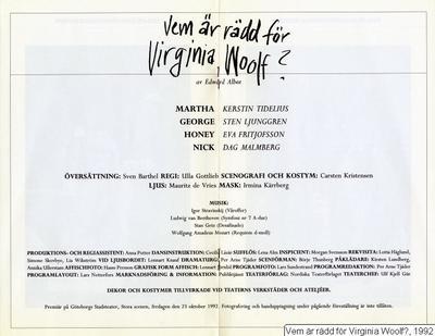 Vem är rädd för Virginia Woolf?, 1992, Vem är rädd för Virginia Woolf?