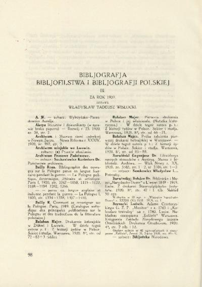 Bibljografja Bibljofilstwa i Bibljografji Polskiej za rok 1920