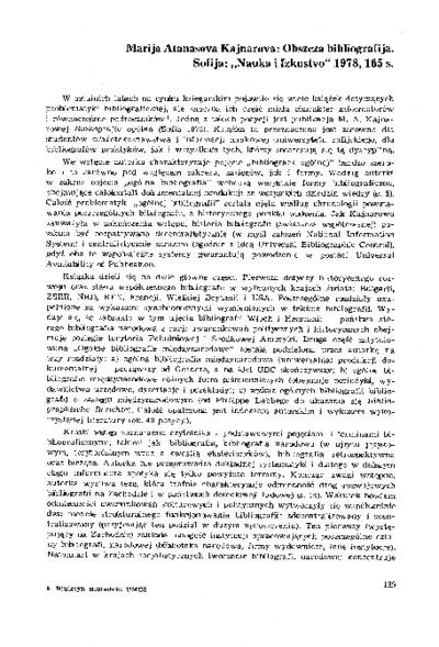 """Marija Atanasova Kajnarova: Obszcza bibliografija. Sofija, """"Nauka i Izkustvo"""" 1978, 165 s. [recenzja]"""