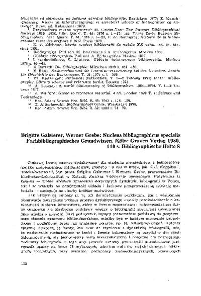 Brigitte Galsterer, Werner Grebe: Nucleus bibliographicus specialis Fachbibliographisches Grundwissen. Koln: Graven Verlag 1980, 110 s. Bibliographische Hefte 8 [recenzja]