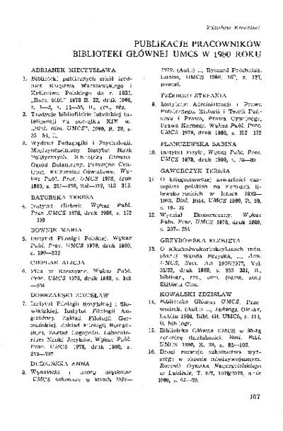 Publikacje pracowników Biblioteki Głównej UMCS w 1980 roku