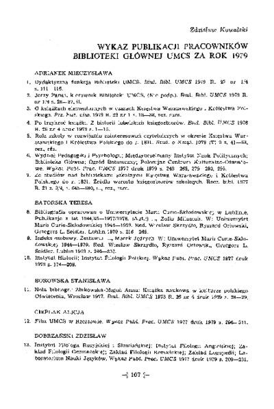 Wykaz pubikacji pracowników Biblioteki Głównej UMCS za rok 1979