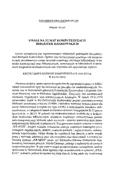 Uwagi na temat komputeryzacji bibliotek krakowskich