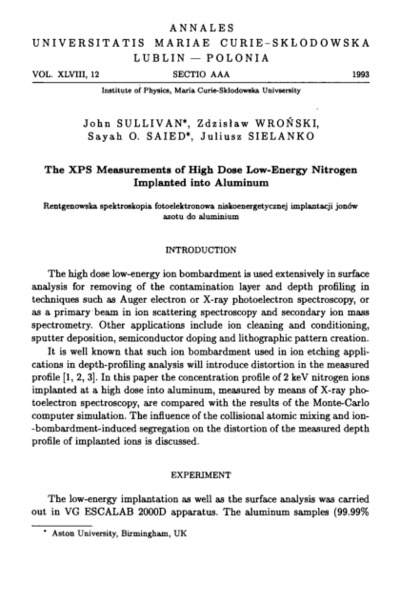 XPS Measurments of high dose low-energy nitrogen implanted into aluminum