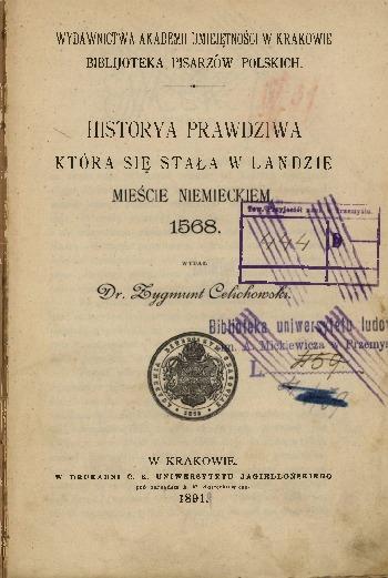 Historya prawdziwa, która się stała w Landzie, mieście niemieckiem, 1568