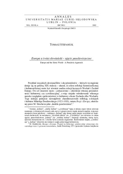 Europa a świat słowiański – ujęcie panslawistyczne