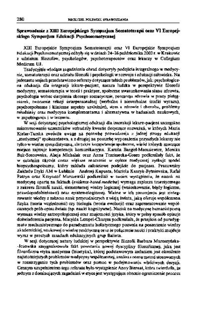Sprawozdanie z XIII Europejskiego Sympozjum Somatoterapii oraz VI Europejskiego Sympozjum Edukacji Psychosomatycznej