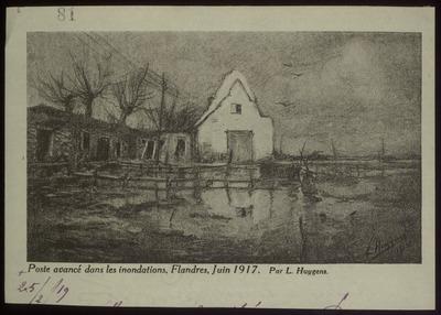 [Prent] poste avancé dans les inondations, Flandres juin 1917