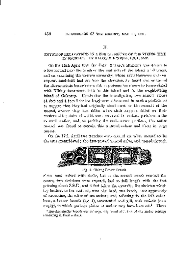 Notice of Excavations in a Burial Mound of the Viking Time, in Oronsay., Volume 25, 432-5