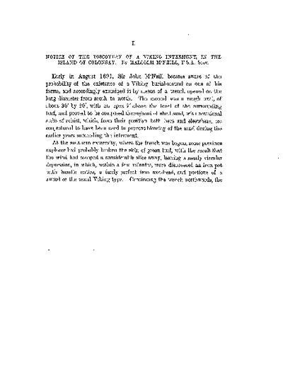 Notice of the Discovery of a Viking Interment, in the Island of Colonsay., Volume 26, 61-2