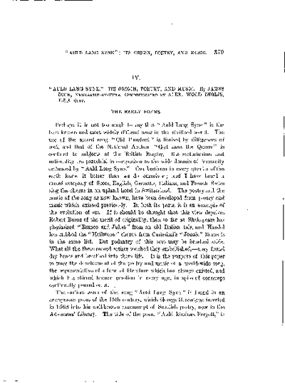 'Auld Lang Syne' - its Origin, Poetry, and Music., Volume 26, 379-97