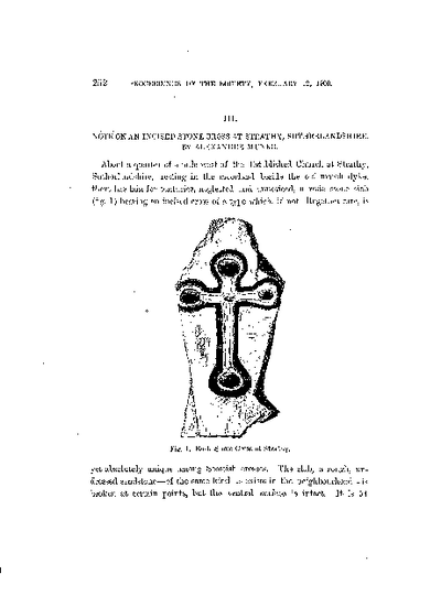 Note on an Incised Stone Cross at Strathy, Sutherlandshire., Volume 34, 252-4