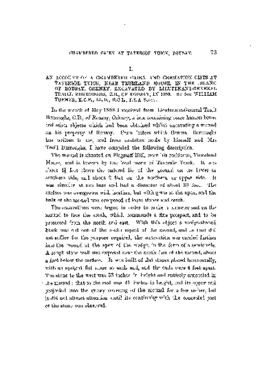 An Account of a Chambered Cairn and Cremation Cists at Taversoe Tuick, near Trumland House, in the Island of Rousay, Orkney, excavated by Lieut. General Traill Burroughs, C.B., of Rousay, in 1898., Volume 37, 73-82