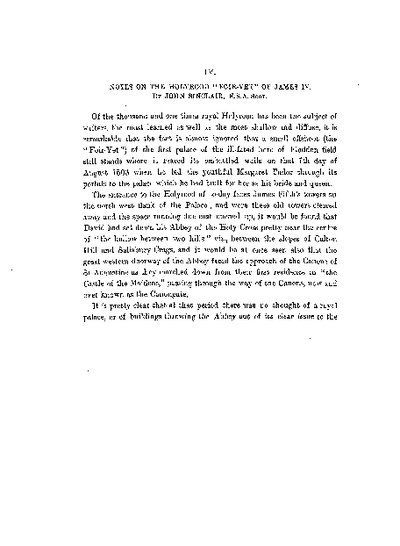 Notes on the Holyrood 'Foir-yett' of James IV., Volume 39, 352-62