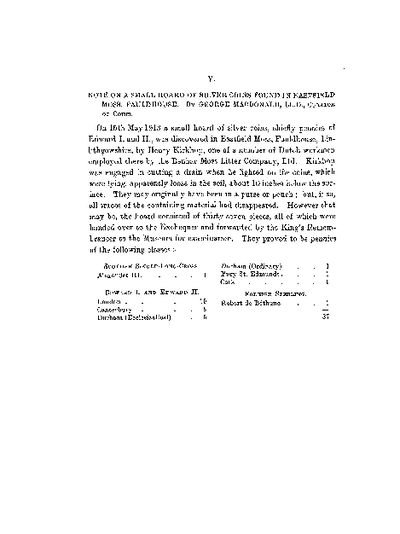 Note on a Small Hoard of Silver Coins found in Eastfield Moss, Fauldhouse., Volume 47, 468-9