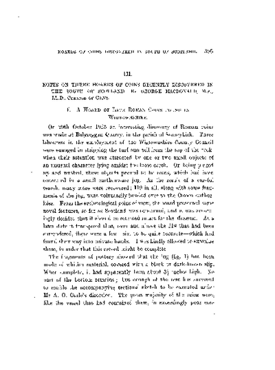 Notes on Three Hoards of Coins recently discovered in the South of Scotland., Volume 48, 395-402