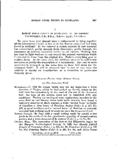 Roman Coins found in Scotland.  II., Volume 58, 325-9