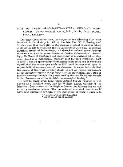 Note on Three Seventeenth-century Shetland Tombstones., Volume 67, 53-61
