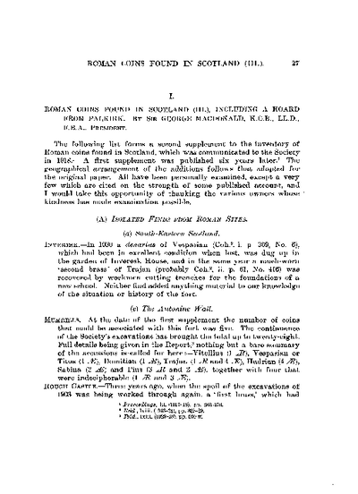 Roman Coins found in Scotland (III.), including a Hoard from Falkirk., Volume 68, 27-40