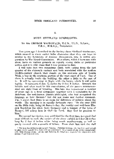 More Shetland Tombstones., Volume 69, 27-48