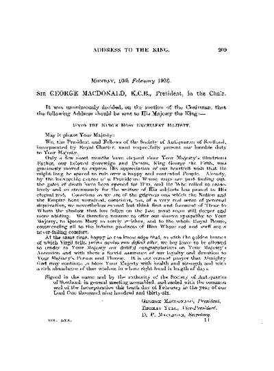 Address to the king, Volume 70, 209-16