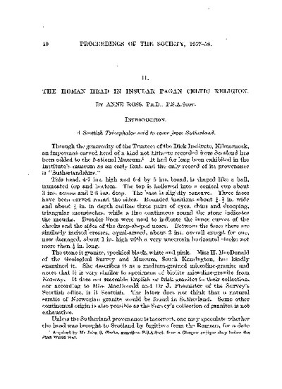 The Human Head in Insular Pagan Celtic Religion, Volume 91, Oct-43