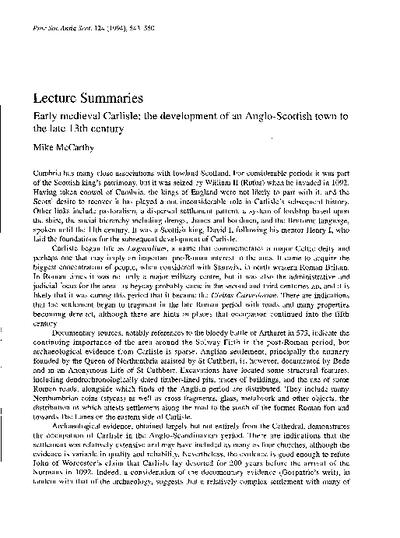Lecture Summaries, Volume 124, 543-565