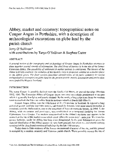 Abbey, market and cemetery: topographical notes on Coupar Angus in Perthshire, with a description of archaeological excavations on glebe land by the parish church., Volume 125, 1045-68