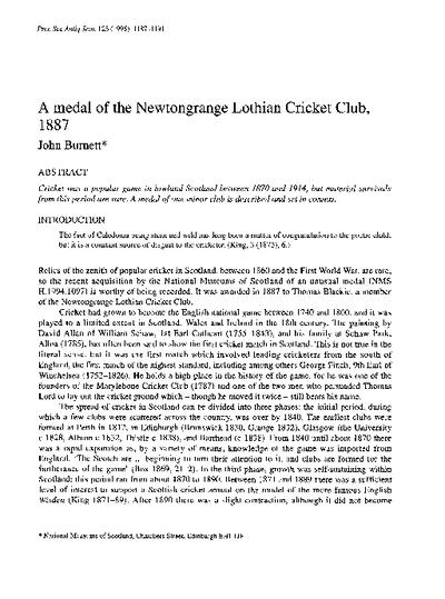 A medal of the Newtongrange Lothian Cricket Club, 1887., Volume 125, 1187-91