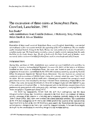The excavation of three cairns at Stoneyburn Farm, Crawford, Lanarkshire, 1991., Volume 125, 289-343