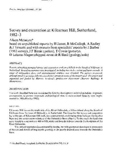 Survey and excavation at Kilearnan Hill, Sutherland, 1982-3, Volume 128, 167-201