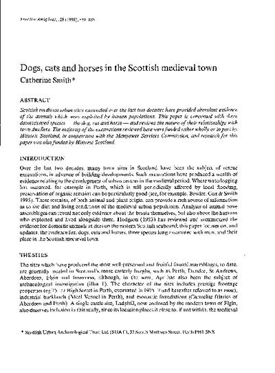 Dogs, cats and horses in the Scottish medieval town., Volume 128, 859-85