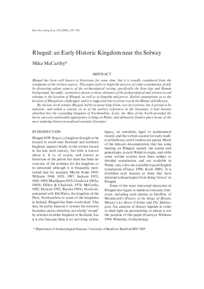 Rgeged: an Early Historic Kingdom near the Solway., Volume 132, 357-381