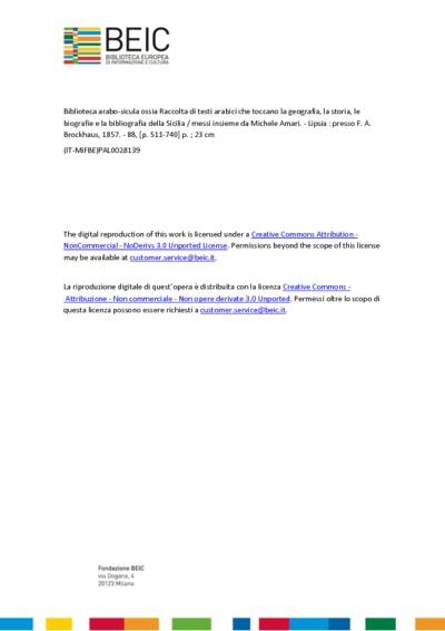 Biblioteca arabo-sicula ossia Raccolta di testi arabici che toccano la geografia, la storia, le biografie e la bibliografia della Sicilia