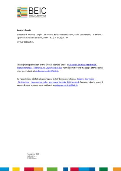 Discorso di Honorio Lunghi. Del Teuere, della sua inondazione, & de' suoi rimedij