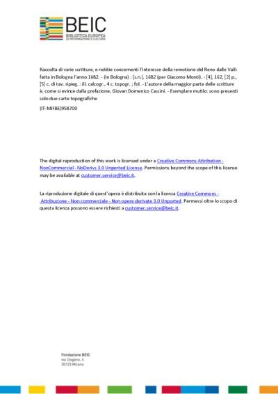 Raccolta di varie scritture, e notitie concernenti l'interesse della remotione del Reno dalle Valli fatta in Bologna l'anno 1682