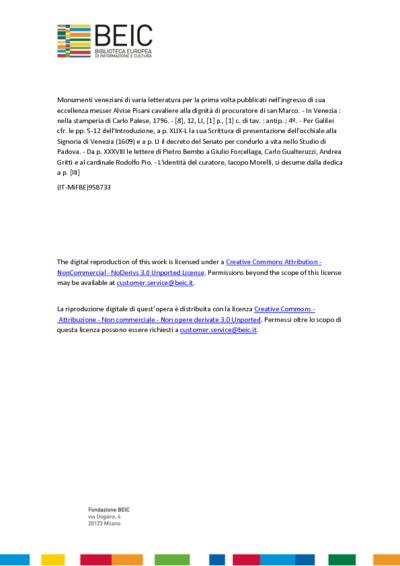 Monumenti veneziani di varia letteratura per la prima volta pubblicati nell'ingresso di sua eccellenza messer Alvise Pisani cavaliere alla dignità di procuratore di san Marco