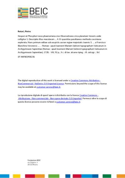 Hesperi et Phosphori nova phaenomena sive Observationes circa planetam Veneris unde colligitur 1. Descriptio illius macularum ... 4. Et quantitas parallaxeos methodo cassiniana explorata. Nunc primum editae sub auspiciis...
