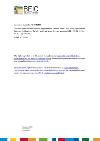 Alexandri Andersoni Aberdonensis Supplementum Apollonii rediuiui, siue Analysis problematis hactenus desiderati ...