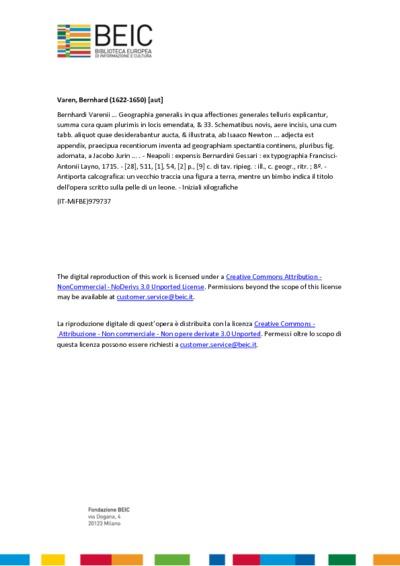 Bernhardi Varenii ... Geographia generalis in qua affectiones generales telluris explicantur, summa cura quam plurimis in locis emendata, & 33. Schematibus novis, aere incisis, una cum tabb. aliquot quae desiderabantur...