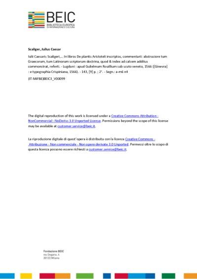 Iulii Caesaris Scaligeri,... In libros De plantis Aristoteli inscriptos, commentarii: abstrusiore tum Graecorum, tum Latinorum scriptorum doctrina, quod & index ad calcem additus commonstrat, referti.