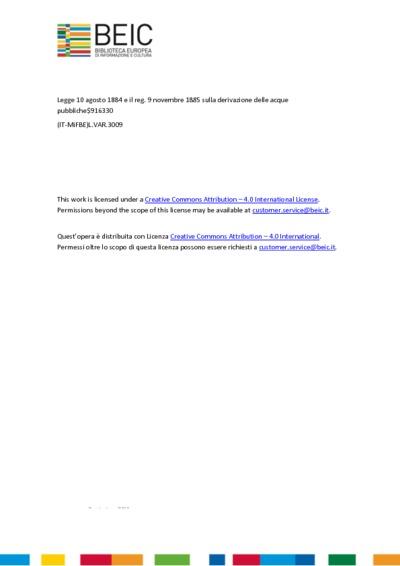 La legge 10 agosto 1884 e il reg. 9 novembre 1885 sulla derivazione delle acque pubbliche note