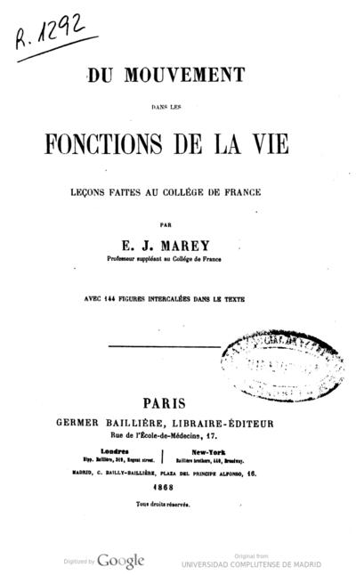 Du mouvement dans les fonctions de la vie leçons faites au collège de France