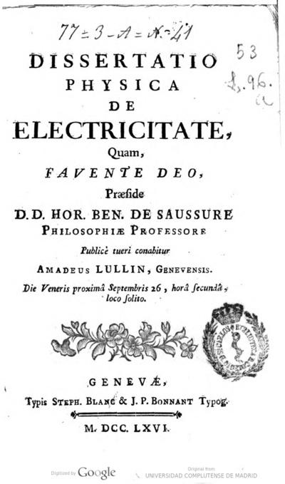 Dissertatio physica de electricitate       Amadeus Lullin