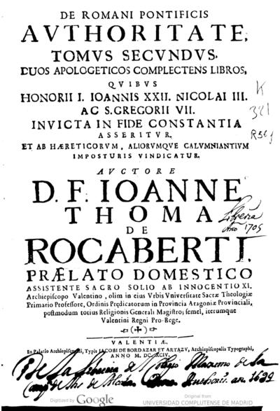 De romani pontificis authoritate tomus secundus ..