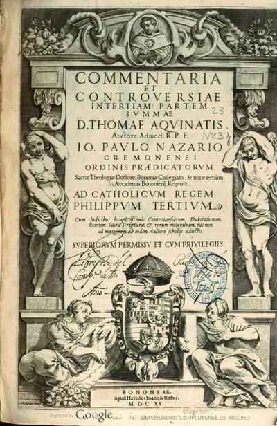 Commentaria et controuersiae in Tertiam partem Summae D. Thomae Aquinatis