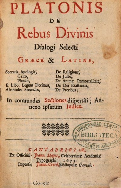 Platonis De rebus divinis dialogi selecti graece latine ... in commodas sectiones dispertiti : anexo ipsarum Indice