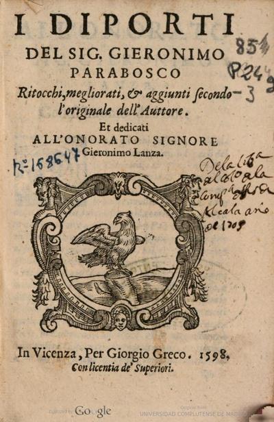 Il diporti del sig. Gieronimo Parabosco ritocchi, megliorati, aggiunti secondo l'originale dell'auttore ..