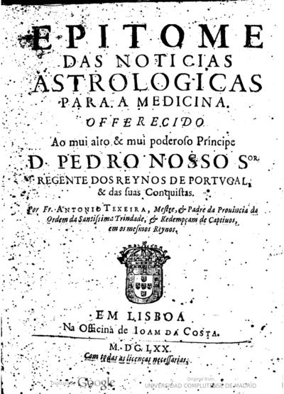 Epitome das noticias astrologicas para a medicina ...